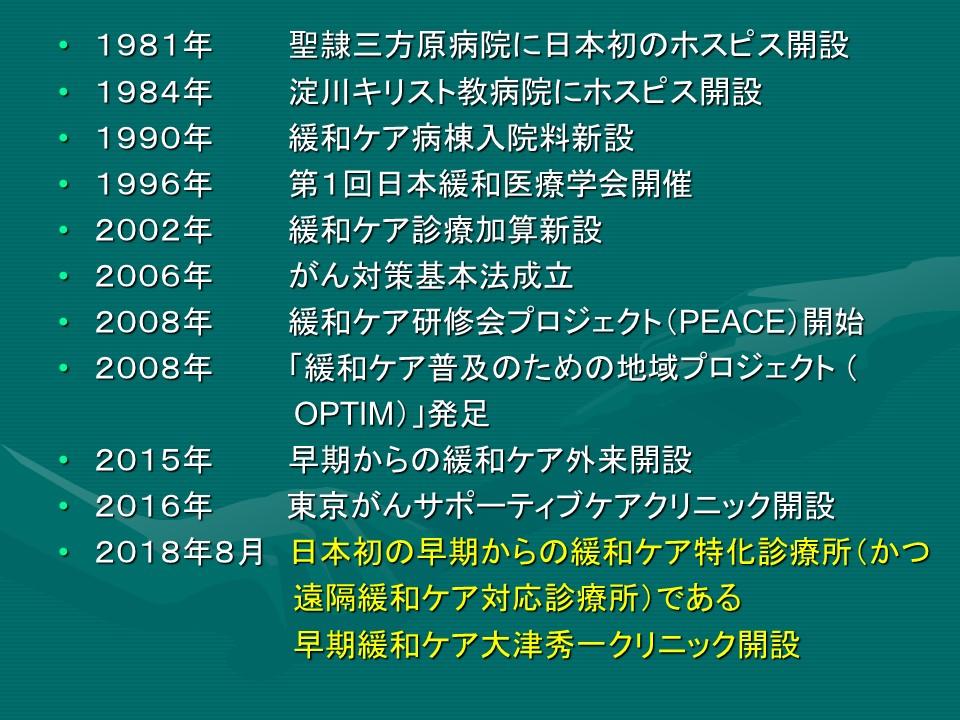 緩和ケアの歴史(日本)と早期緩和ケア大津秀一クリニック(東京。外来。遠隔診療対応)