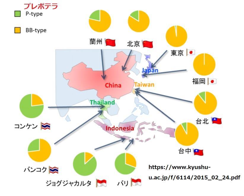 プレボテラ属の世界における保菌割合